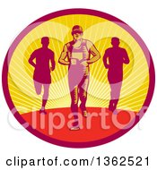 Clipart Of Retro Woodcut Male Triathlete Or Marathon Runners In A Sunset Oval Royalty Free Vector Illustration