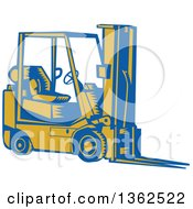 Clipart Of A Retro Woodcut Blue And Yellow Forklift Royalty Free Vector Illustration