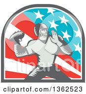 Clipart Of A Retro Woodcut American Football Player Quarterback Throwing In An American Arch American Circle Royalty Free Vector Illustration by patrimonio
