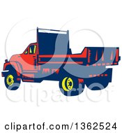Clipart Of A Retro Woodcut Yellow Blue And Red Flatbed Truck Royalty Free Vector Illustration