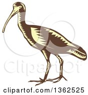 Clipart Of A Retro Woodcut Yellow And Brown Crane Bird Royalty Free Vector Illustration by patrimonio