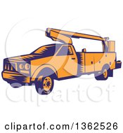 Clipart Of A Retro Woodcut Orange And Blue Cherry Picker Lift Truck Royalty Free Vector Illustration