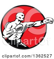Retro Woodcut Black And White Male Boxer Jabbing In A Red Circle