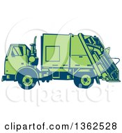 Retro Woodcut Blue And Green Garbage Truck