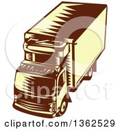 Clipart Of A Retro Woodcut Brown And Yellow Refrigerated Big Rig Truck From Above Royalty Free Vector Illustration