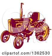 Clipart Of A Retro Woodcut Maroon And Yellow Vintage Farming Tractor Royalty Free Vector Illustration