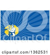 Clipart Of A Retro Male Stage Worker Moving A Lighting Stand And Sound Boom And Blue Rays Background Or Business Card Design Royalty Free Illustration