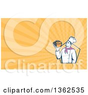 Clipart Of A Retro Male Chef Holding A Pot In A Hexagon And Pastel Orange Rays Background Or Business Card Design Royalty Free Illustration