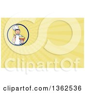 Clipart Of A Retro Cartoon Male Chef Holding A Hot Bowl Of Soup In A Circle And Yellow Rays Background Or Business Card Design Royalty Free Illustration