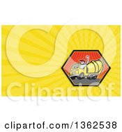 Clipart Of A Cartoon Cement Truck Driver Waving In A Hexagon And Yellow Rays Background Or Business Card Design Royalty Free Illustration by patrimonio