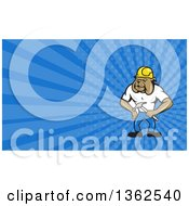 Cartoon Construction Worker Bulldog And Blue Rays Background Or Business Card Design
