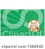 Clipart Of A Retro Crossed Chainsaws With A Circle Of Wood And Oak Leaves And Green Rays Background Or Business Card Design Royalty Free Illustration