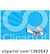 Clipart Of A Retro Logger Using A Chain Saw Emerging From A Diamond And Blue Rays Background Or Business Card Design Royalty Free Illustration