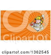 Clipart Of A Cartoon Fireman With An Axe And Orange Rays Background Or Business Card Design Royalty Free Illustration