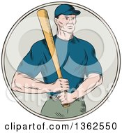 Clipart Of A Retro Sketched Or Engraved Caucasian Male Baseball Player Holding A Bat In A Circle Royalty Free Vector Illustration