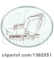 Clipart Of A Sketched Mechanical Excavator In An Oval Royalty Free Vector Illustration by patrimonio