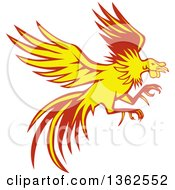 Clipart Of A Retro Yellow And Red Flying Fighting Cock Rooster Royalty Free Vector Illustration