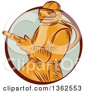 Clipart Of A Retro Orange Sandblaster Worker In A Brown And Pastel Green Circle Royalty Free Vector Illustration