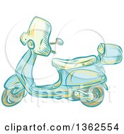 Clipart Of A Retro Etched Or Engaved Styled Scooter Royalty Free Vector Illustration