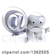 Clipart Of A 3d Unhappy Tooth Character Holding Up A Thumb Down And Email Arobase At Symbol On A White Background Royalty Free Illustration