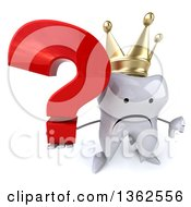 Clipart Of A 3d Unhappy Crowned Tooth Character Holding Up A Thumb Down And A Question Mark On A White Background Royalty Free Illustration