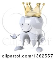 Clipart Of A 3d Happy Crowned Tooth Character Presenting On A White Background Royalty Free Illustration