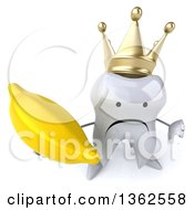 Clipart Of A 3d Unhappy Crowned Tooth Character Holding Up A Thumb Down And A Banana On A White Background Royalty Free Illustration