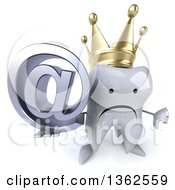 Clipart Of A 3d Unhappy Crowned Tooth Character Holding Up A Thumb Down And An Email Arobase At Symbol On A White Background Royalty Free Illustration
