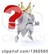 Clipart Of A 3d Unhappy Crowned Tooth Character Holding A Question Mark And Jumping On A White Background Royalty Free Illustration
