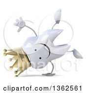 Clipart Of A 3d Happy Crowned Tooth Character Cartwheeling On A White Background Royalty Free Illustration