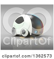 Clipart Of A 3d Futuristic Compact Self Driving Car On Gray Royalty Free Illustration by Julos
