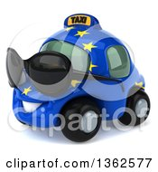 Clipart Of A 3d European Taxi Cab Character Facing Left And Wearing Sunglasses On A White Background Royalty Free Illustration