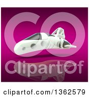 Clipart Of A 3d Futuristic Hover Vehicle Over Reflective Pink Royalty Free Illustration