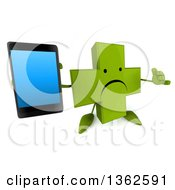 Clipart Of A 3d Unhappy Green Naturopathic Cross Character Holding Up A Smart Phone And Gesturing Call Me On A White Background Royalty Free Illustration