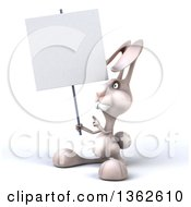 Clipart Of A 3d White Bunny Rabbit Holding And Pointing To A Blank Sign On A White Background Royalty Free Illustration