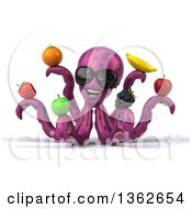 Clipart Of A 3d Happy Purple Octopus Wearing Sunglasses And Holding Fruit On A White Background Royalty Free Illustration