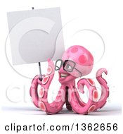 Clipart Of A 3d Bespectacled Pink Octopus Holding A Blank Sign On A White Background Royalty Free Illustration