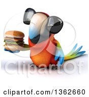 Clipart Of A 3d Scarlet Macaw Parrot Wearing Sunglasses And Holding A Double Cheeseburger On A White Background Royalty Free Illustration