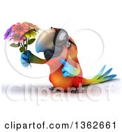Clipart Of A 3d Scarlet Macaw Parrot Wearing Sunglasses Holding And Pointing To A Bouquet On A White Background Royalty Free Illustration