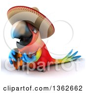 3d Scarlet Macaw Parrot Wearing A Sombrero And Playing A Guitar On A White Background