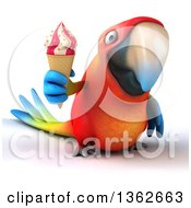 Clipart Of A 3d Scarlet Macaw Parrot Holding A Waffle Ice Cream Cone On A White Background Royalty Free Illustration