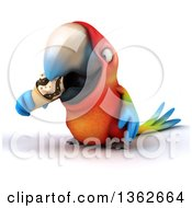Clipart Of A 3d Scarlet Macaw Parrot Eating A Waffle Ice Cream Cone On A White Background Royalty Free Illustration