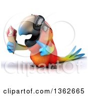 Clipart Of A 3d Scarlet Macaw Parrot Wearing Sunglasses Holding And Pointing To A Waffle Ice Cream Cone On A White Background Royalty Free Illustration