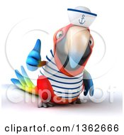 Clipart Of A 3d Scarlet Macaw Parrot Sailor Giving A Thumb Up On A White Background Royalty Free Illustration