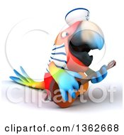 3d Scarlet Macaw Parrot Sailor Playing A Guitar On A White Background