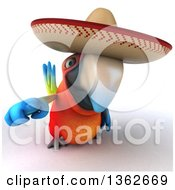 Clipart Of A 3d Scarlet Macaw Parrot Wearing A Sombrero And Pointing On A White Background Royalty Free Illustration