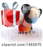 Clipart Of A 3d Scarlet Macaw Parrot Wearing Sunglasses And Holding Up A Gift On A White Background Royalty Free Illustration