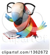 Clipart Of A 3d Bespectacled Scarlet Macaw Parrot Flying And Reading A Book On A White Background Royalty Free Illustration