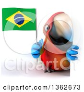 Clipart Of A 3d Scarlet Macaw Parrot Holding A Brazilian Flag Around A Sign On A White Background Royalty Free Illustration