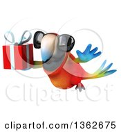 Clipart Of A 3d Scarlet Macaw Parrot Wearing Sunglasses And Flying With A Gift On A White Background Royalty Free Illustration